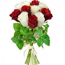Букет 11 роз красных и белых